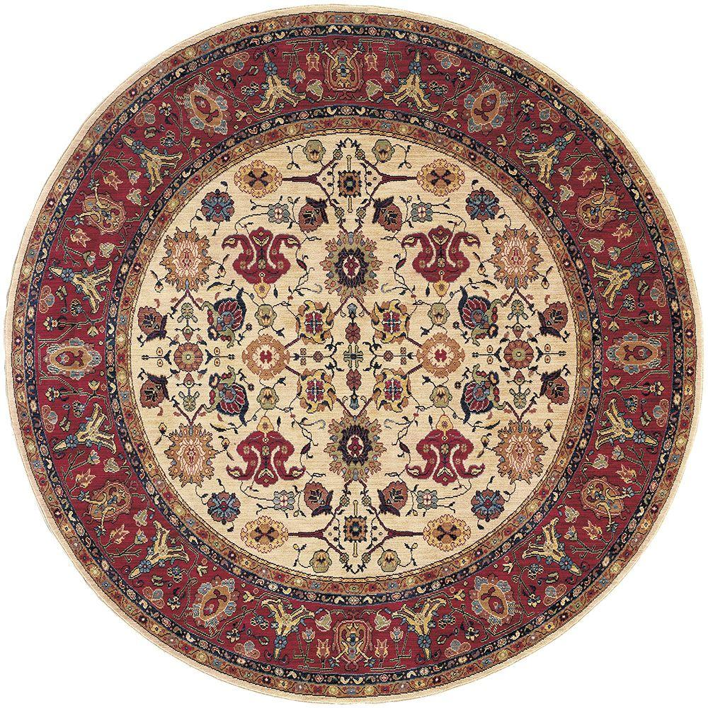 Karastan Stratford Multi 4 ft. 11 in. x 4 ft. 11 in. Round Area Rug
