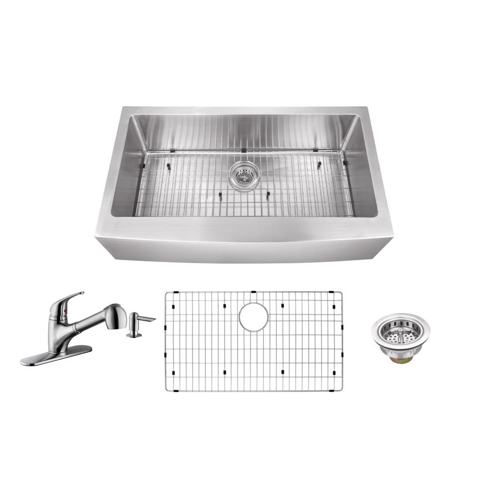 All-In-One Apron Front Stainless Steel 30 in. Single Bowl Kitchen Sink