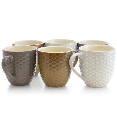 Honeycomb 15 oz. Assorted Color Mugs (Set of 6)