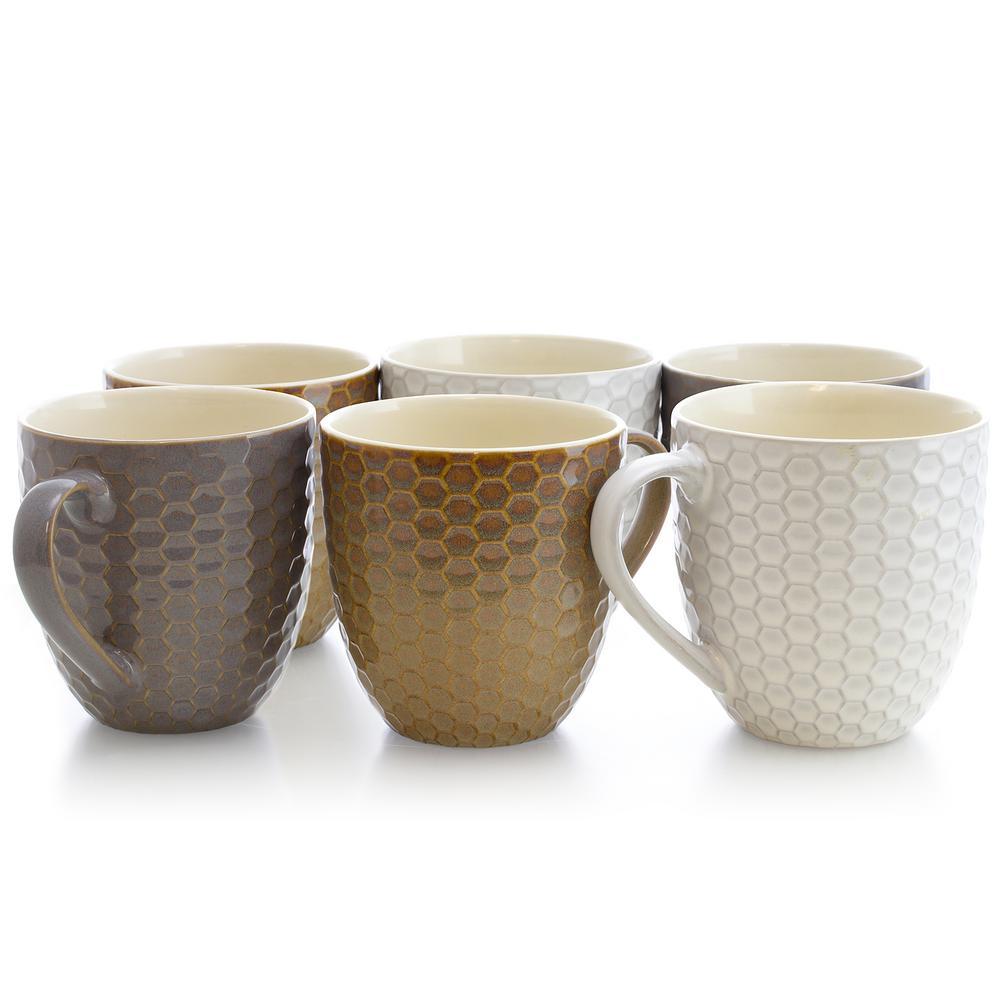 Elama Honeycomb 15 oz. Assorted Color Mugs (Set of 6)