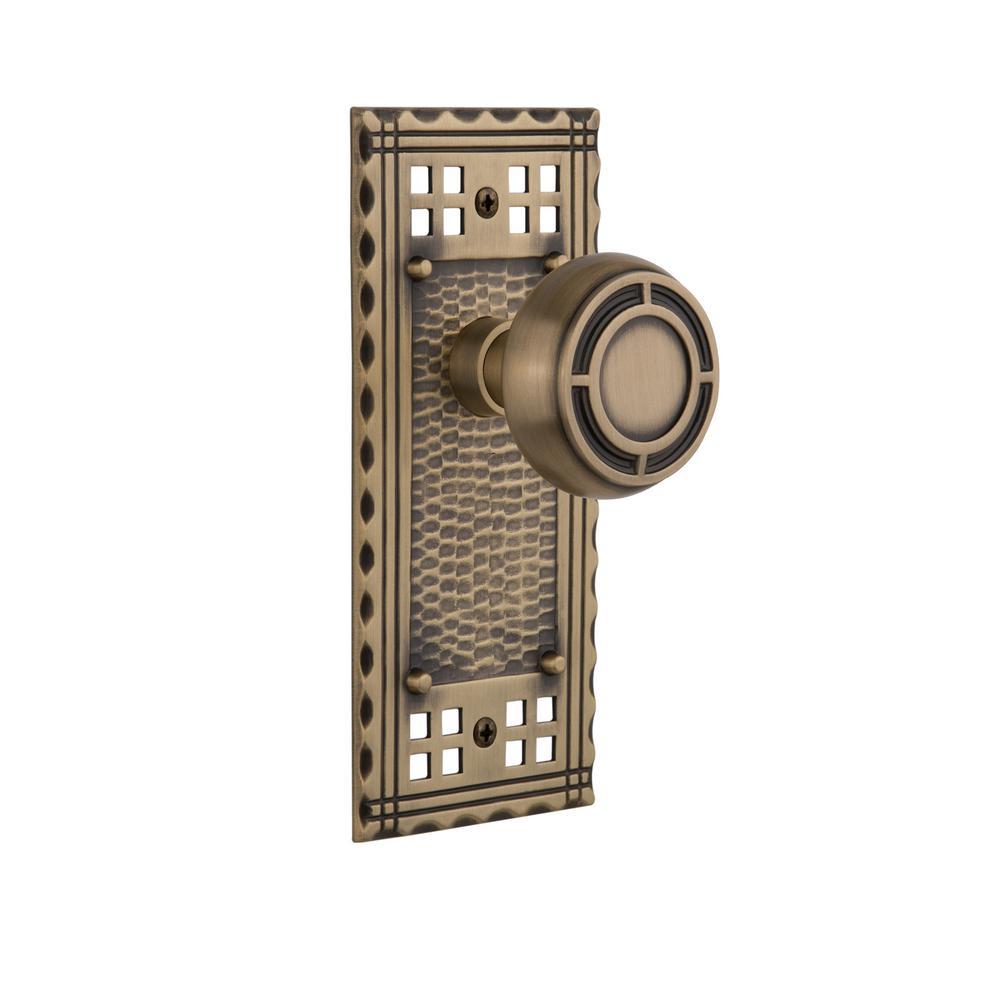 Craftsman Plate 2-3/8 in. Backset Antique Brass Privacy Mission Door Knob