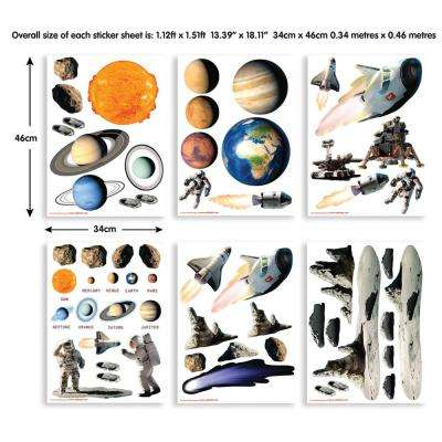 Multi-Color Space Adventure Wall Stickers