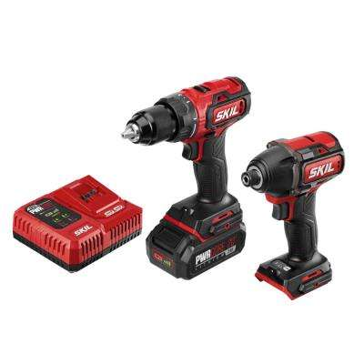 PWRCore Brushless 20V Cordless Drill Driver & Impact Driver (2 Tool) Combo Kit + 2.0Ah Battery (USB) + PWRJUMP Charger