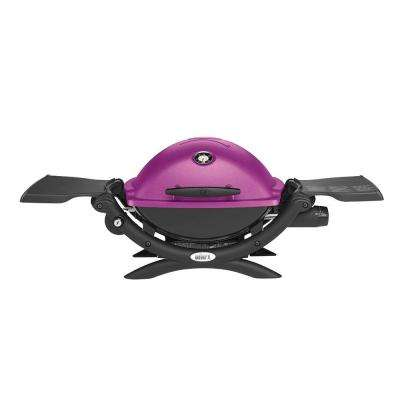 Q 1200 1-Burner Portable Tabletop Propane Gas Grill in Fuchsia with Built-In Thermometer