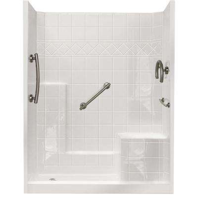 60 in. x 33 in. x 77 in. Freedom Low Threshold 3-Piece Shower Kit in White Brushed Nickel Package, RHS Seat, LHS Drain