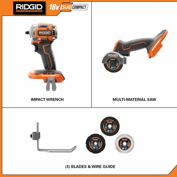 RIDGID Multi-Material Saw 18-Volt SubCompact Brushless Cordless Variable Speed