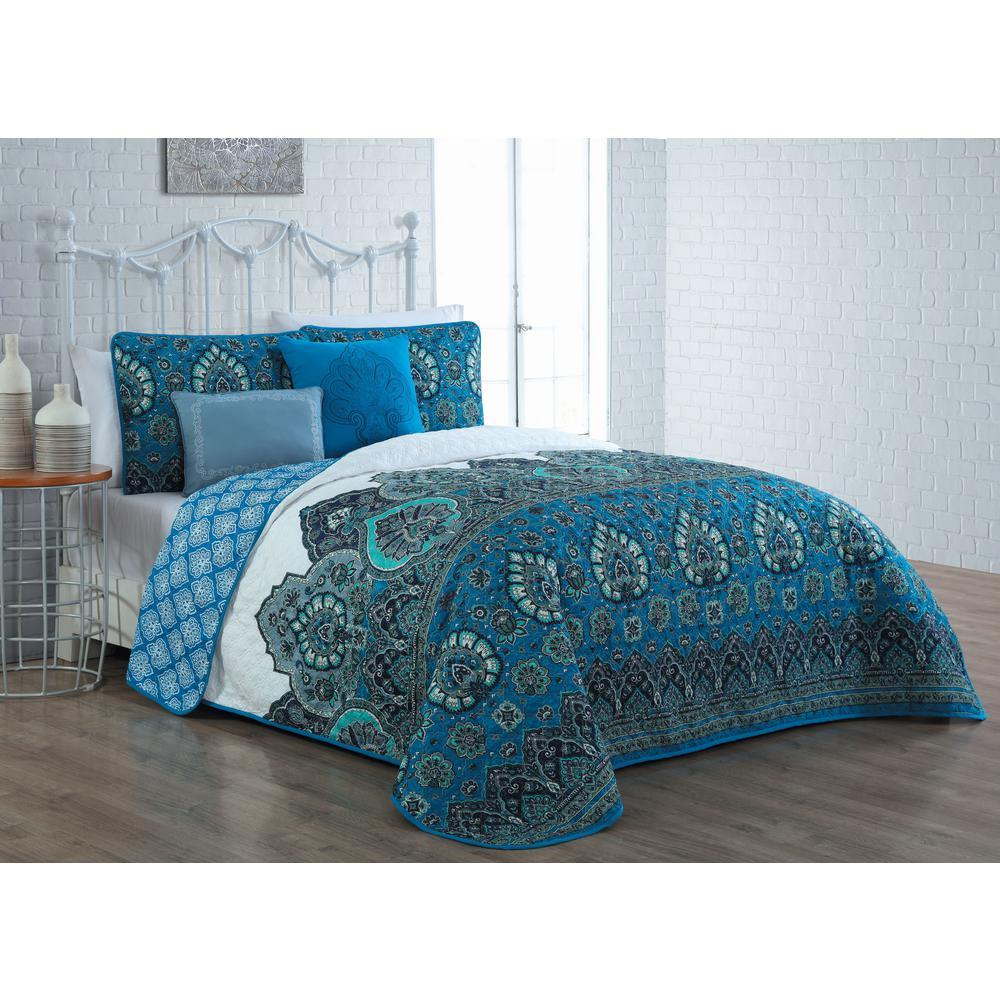 Livia 5-Piece Blue King Quilt Set
