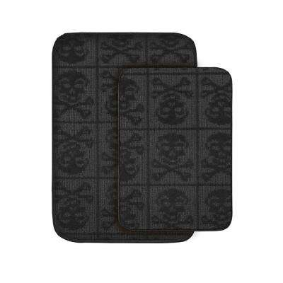 Skulls Black 20 in x 30 in. Washable Bathroom 2-Piece Rug Set