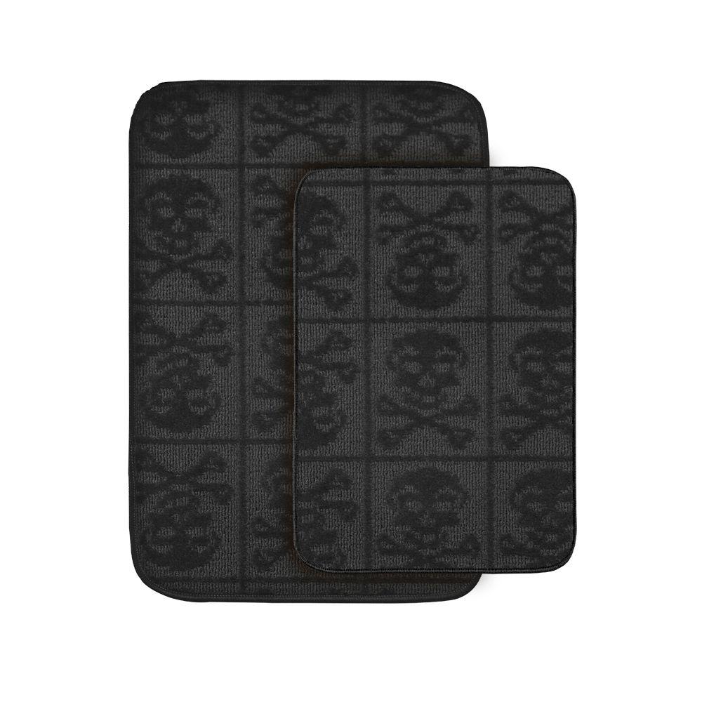 Garland Rug Skulls Black 20 In X 30 In. Washable Bathroom 2 Piece Rug