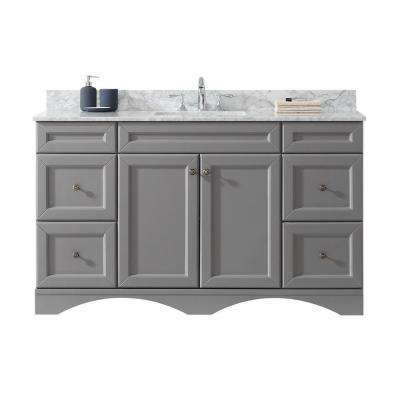 Talisa 60 in. W Single Bath Vanity in Grey with Marble Vanity Top and Square Basin