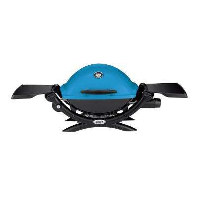 Q 1200 1-Burner Portable Tabletop Propane Gas Grill in Blue with Built-In Thermometer