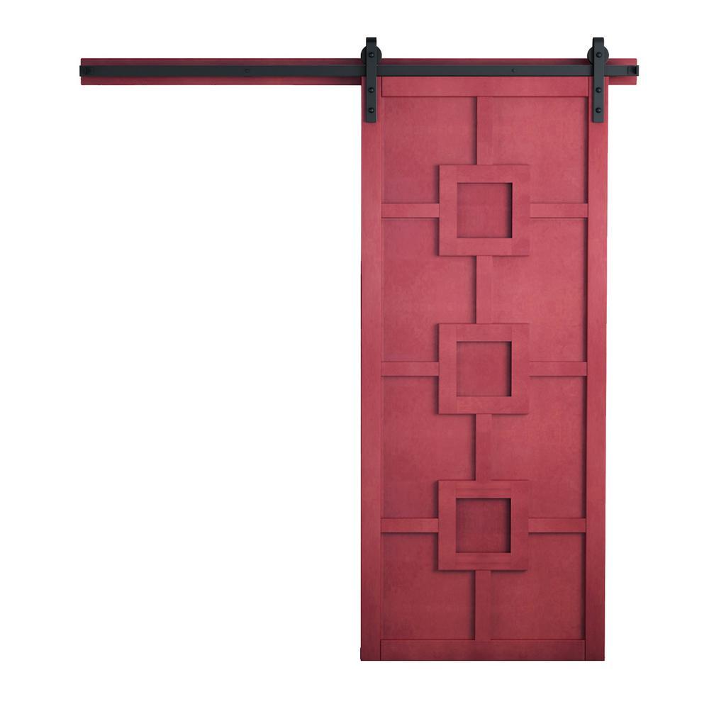 42 in. x 84 in. Mod Squad Carmine Wood Barn Door with Sliding Door Hardware Kit