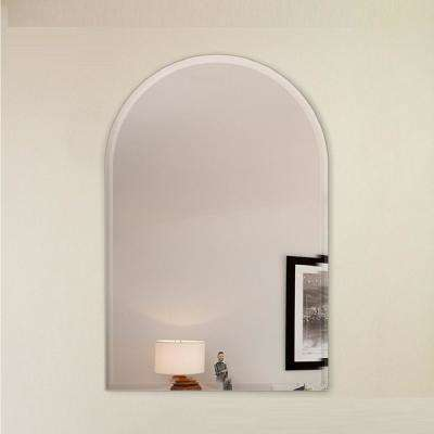 18 in. x 30 in. Arch Frameless Mirror 1 in. Beveled Edge with Hooks
