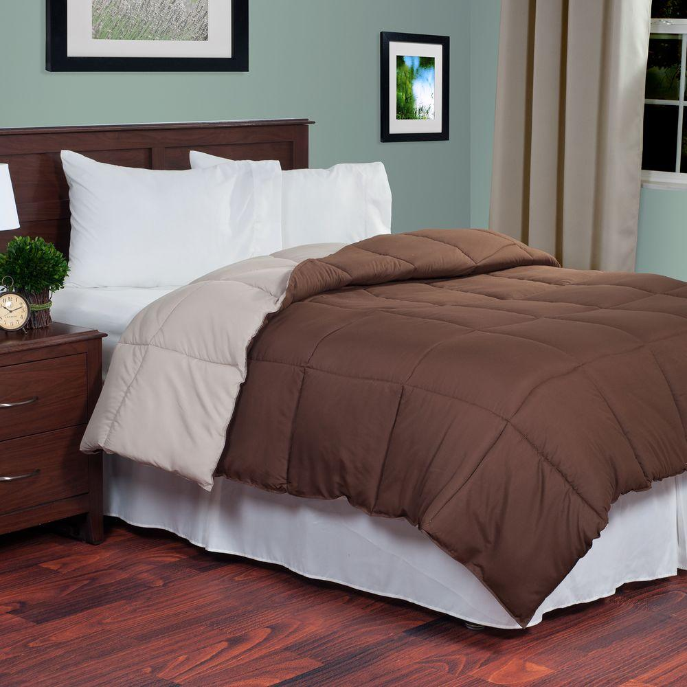 down alternative comforter lavish home reversible chocolate taupe alternative 31116