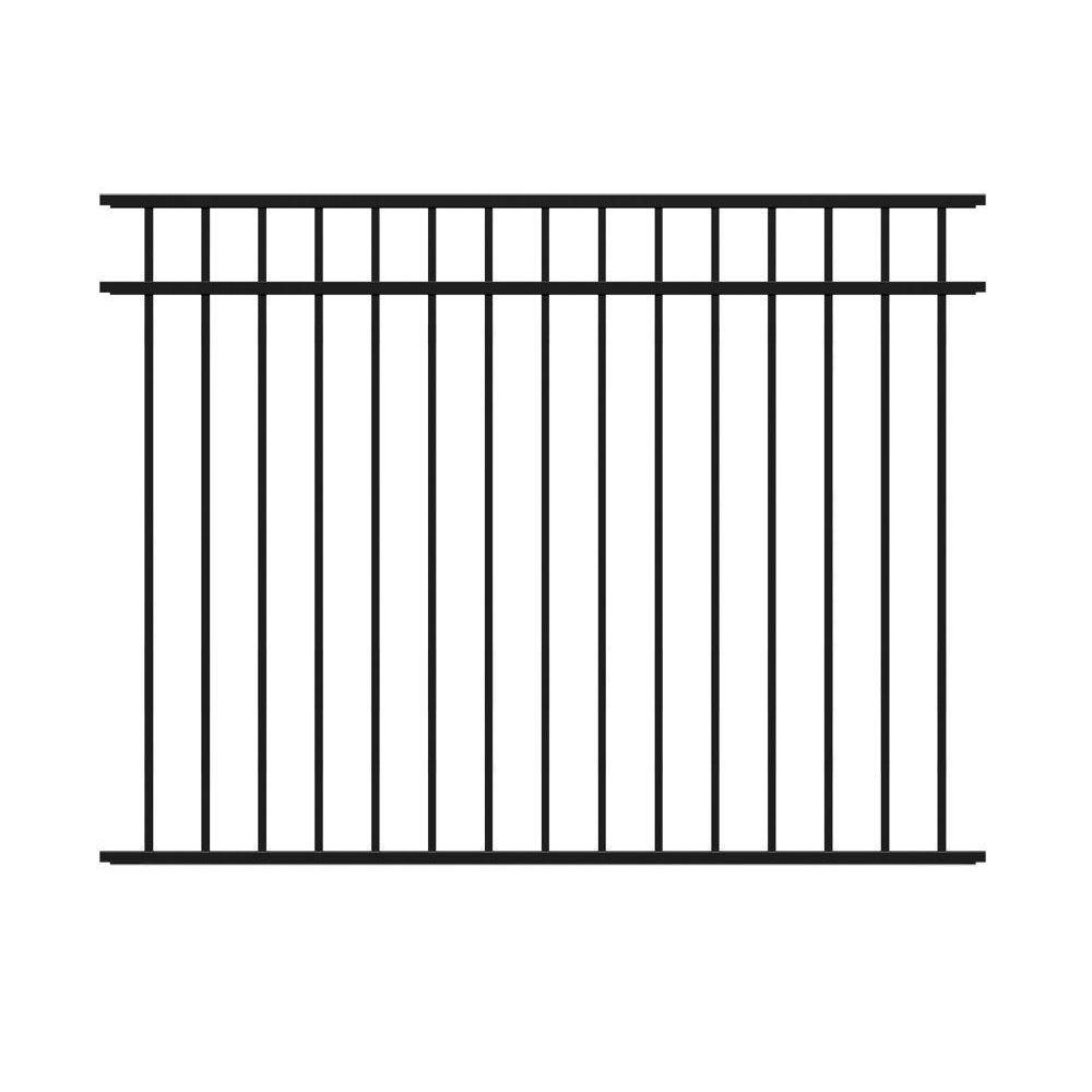TuffBilt 4 5 ft  H x 6 ft  W Natural Reflections Black Aluminum Fence Kit