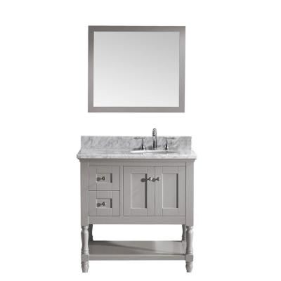 Julianna 36 in. W Bath Vanity in Gray with Marble Vanity Top in White with Round Basin and Mirror