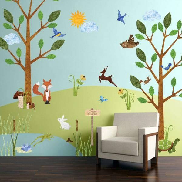 Forest Multi Peel and Stick Removable Wall Decals Woodland Critters Theme  Wall Mural (83-Piece Jumbo Set)
