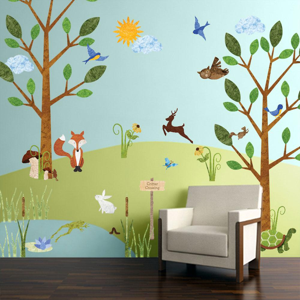 Forest Multi Peel and Stick Removable Wall Decals Woodland Critters Theme Wall Mural (83- : decals wall forest - www.pureclipart.com