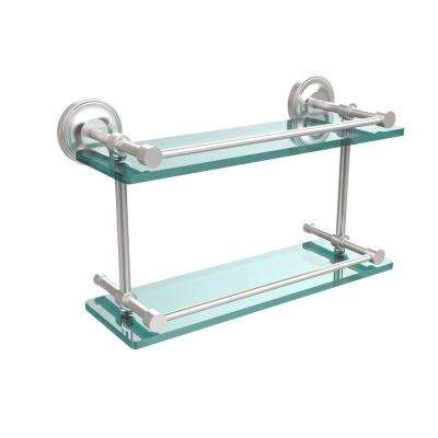 Prestige Regal 16 in. L x 8 in. H x 5 in. W 2-Tier Clear Glass Bathroom Shelf with Gallery Rail in Satin Chrome