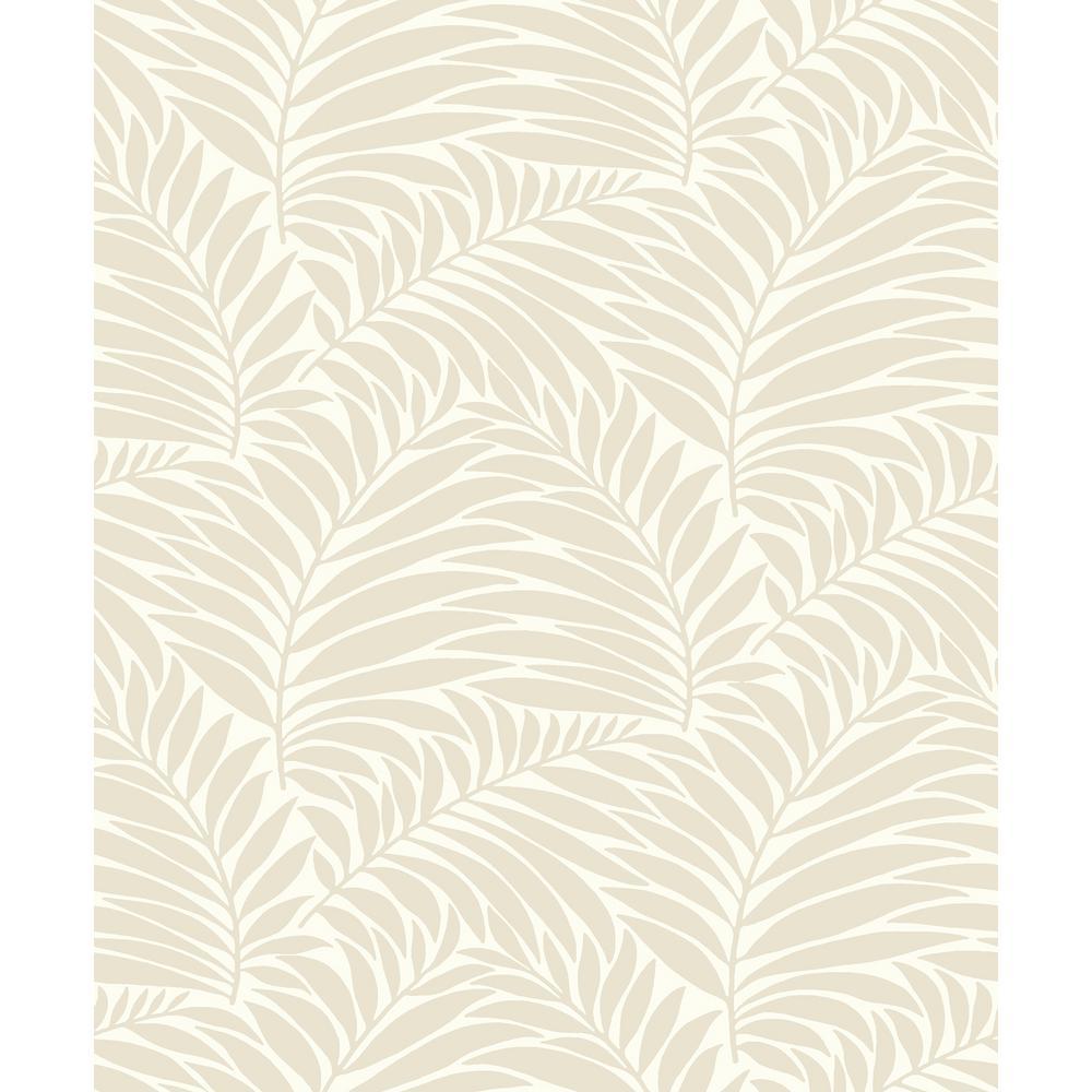 8 in. x 10 in. Myfair Cream Leaf Wallpaper Sample