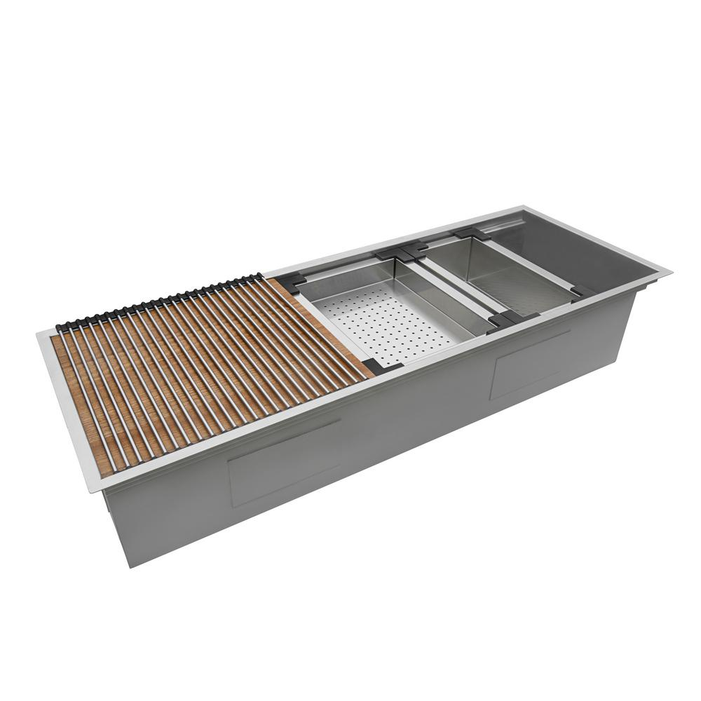 Ruvati Undermount 16-Gauge Stainless Steel 45 in. Single Bowl Workstation Ledge Kitchen Sink