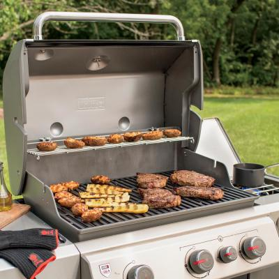 Genesis II E-330 3-Burner Propane Gas Grill in Black with Built-In Thermometer and Side Burner