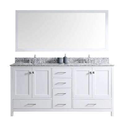 Caroline Madison 72 in. W Bath Vanity in White with Granite Vanity Top in Arctic White with Round Basin and Mirror