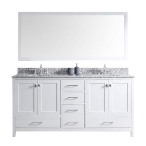 Virtu USA Caroline Madison 72 inch Vanity in White with Granite Vanity Top in Arctic White with White Round Basin and... by Virtu USA