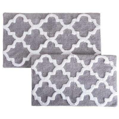 Trellis Silver 24.5 in. x 41 in. 2-Piece Mat Set
