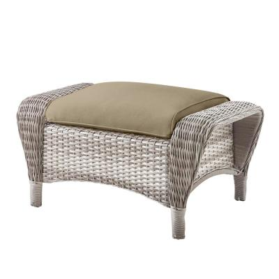 Beacon Park Gray Wicker Outdoor Patio Ottoman with CushionGuard Putty Tan Cushions