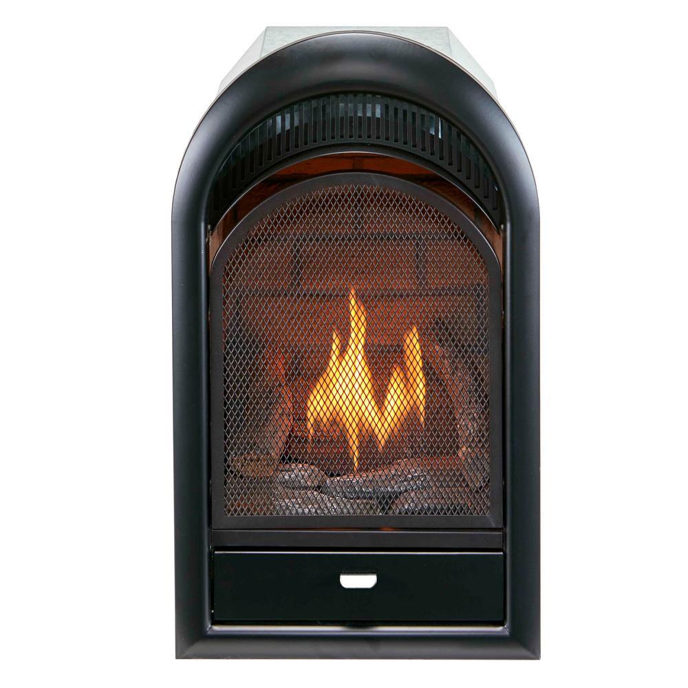 16 in. 10,000 BTU Vent Free Natural Gas Fireplace Insert T-Stat Control, Zero Clearance Design Ceramic Fiber Brick Liner