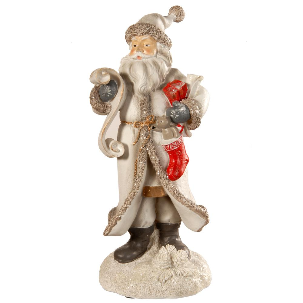 National Tree Company 11.42 in. White Santa with List This decorative seasonal piece is constructed of strong polyresin material featuring handcrafted sculpting and hand-painted detail. Santa, dressed in a non-traditional white jacket and cap, is closely reading from a flowing scroll. In his other arm he is holding colorful Christmas gifts.