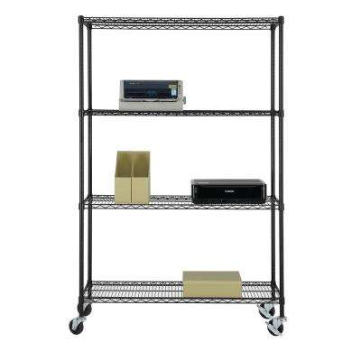 77 in. H x 48 in. W x 18 in. D NSF Multi-Purpose 4-Tier Black Wire Shelving Unit with Casters