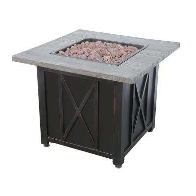30 in. W Square Wood Look Resin Mantel LP Gas Fire Pit with Integrated Electronic Ignition, Lava Rock and Included Cover