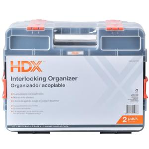 Deals on 2-Pack HDX 15-Compartment Interlocking Small Parts Organizer