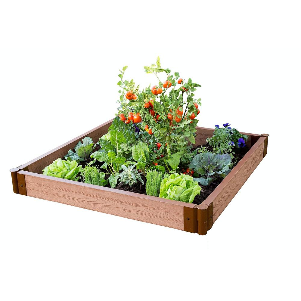 Frame It All Two Inch Series 4 ft. x 4 ft. x 5.5 in. Classic Sienna Composite Raised Garden Bed Kit