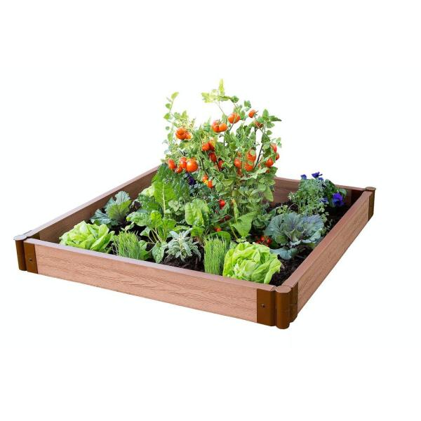 Frame It All Two Inch Series 4 Ft X 4 Ft X 5 5 In Classic Sienna Composite Raised Garden Bed Kit 300001080 The Home Depot