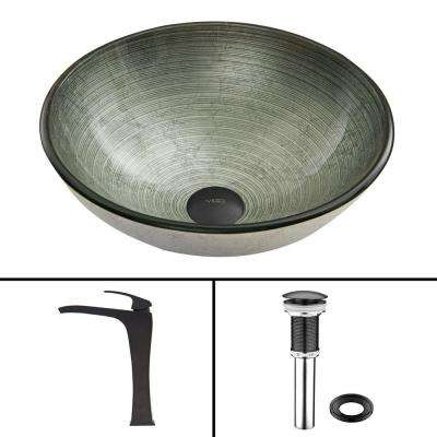 Glass Vessel Sink in Simply Silver and Blackstonian Faucet Set in Matte Black