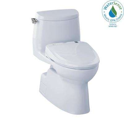 Carlyle II Connect 1-Piece 1.0 GPF Elongated Toilet with Washlet S300e Bidet and CeFiOntect in Cotton White