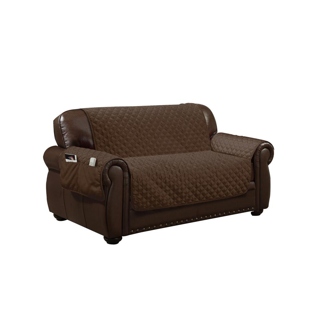 Cool Wallace Water Resistant Chocolate Fit Polyester Fit Loveseat Slip Cover Beatyapartments Chair Design Images Beatyapartmentscom