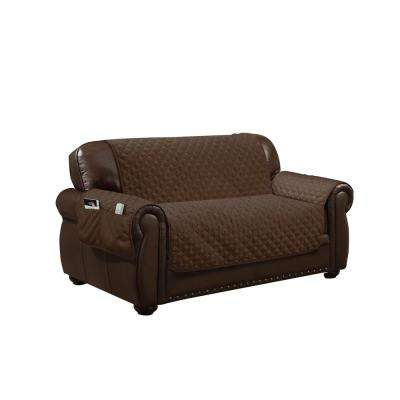 Wallace Water Resistant Chocolate Fit Polyester Fit Loveseat Slip Cover