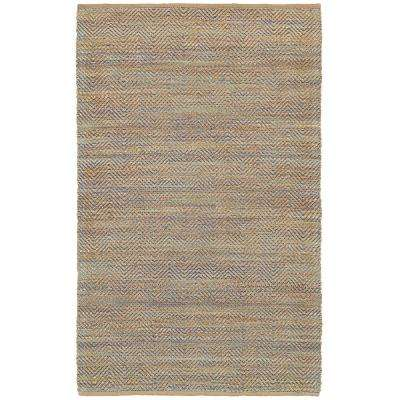 Chevron Natural Fiber Blue 8 ft. x 10 ft. Plush Indoor Area Rug