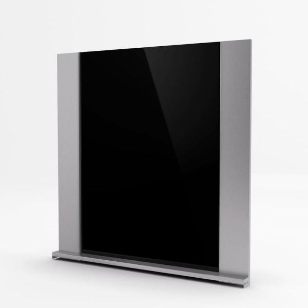 Gamma 30 in. x 31 in. Stainless Steel Backsplash with black tempered glass