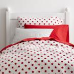 Stars Cotton Percale Classic Red Queen Duvet Cover