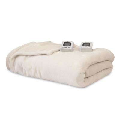 Ivory 100% Polyester Fleece King Warming Blanket