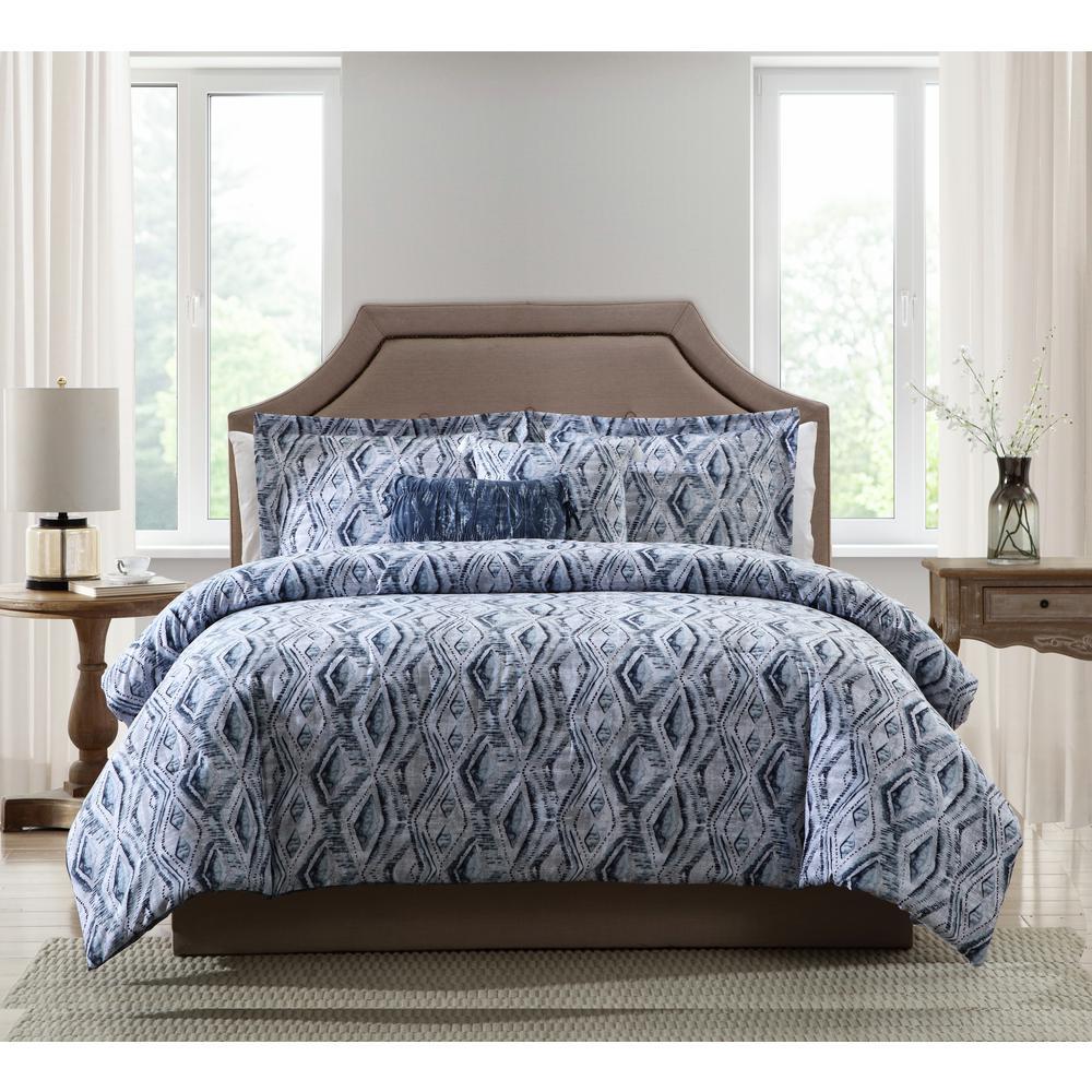 Allyson Blue Ikat 5-Piece Full/Queen Comforter Set
