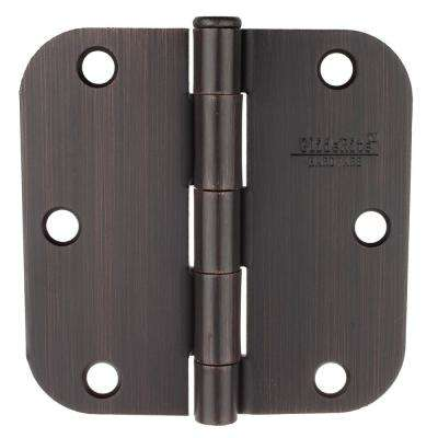 3-1/2 in. Oil Rubbed Bronze Steel Door Hinge 5/8 in. Corner Radius with Screws (12-Pack)