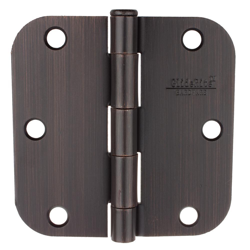 3-1/2 in. Oil Rubbed Bronze Steel Door Hinges 5/8 in. Corner Radius with Screws (24-Pack)