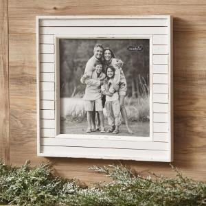 Rustic 10 inch x 10 inch White Distressed Planked Wood Picture Frame by