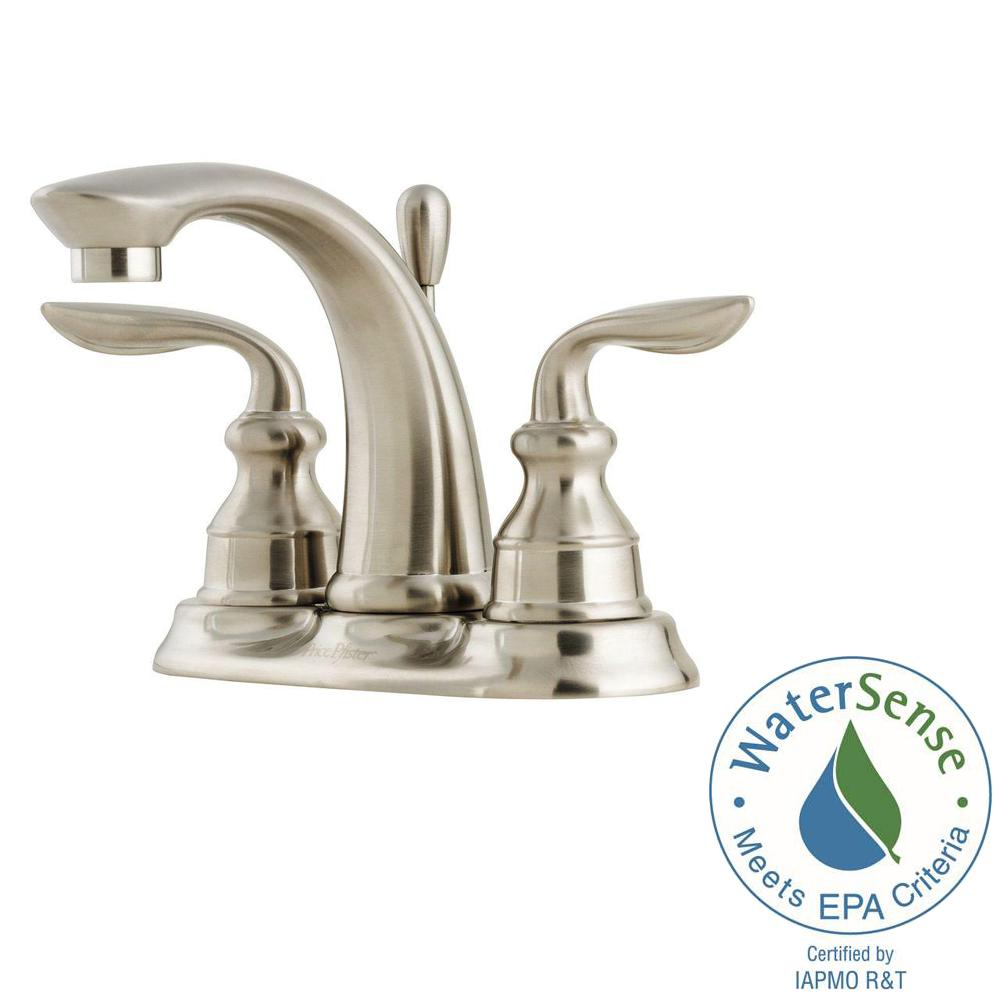 Pfister Avalon 4 in. Centerset 2-Handle Bathroom Faucet in Brushed ...